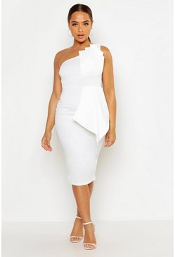 Womens White One Shoulder Pleated Detail Midi Dress