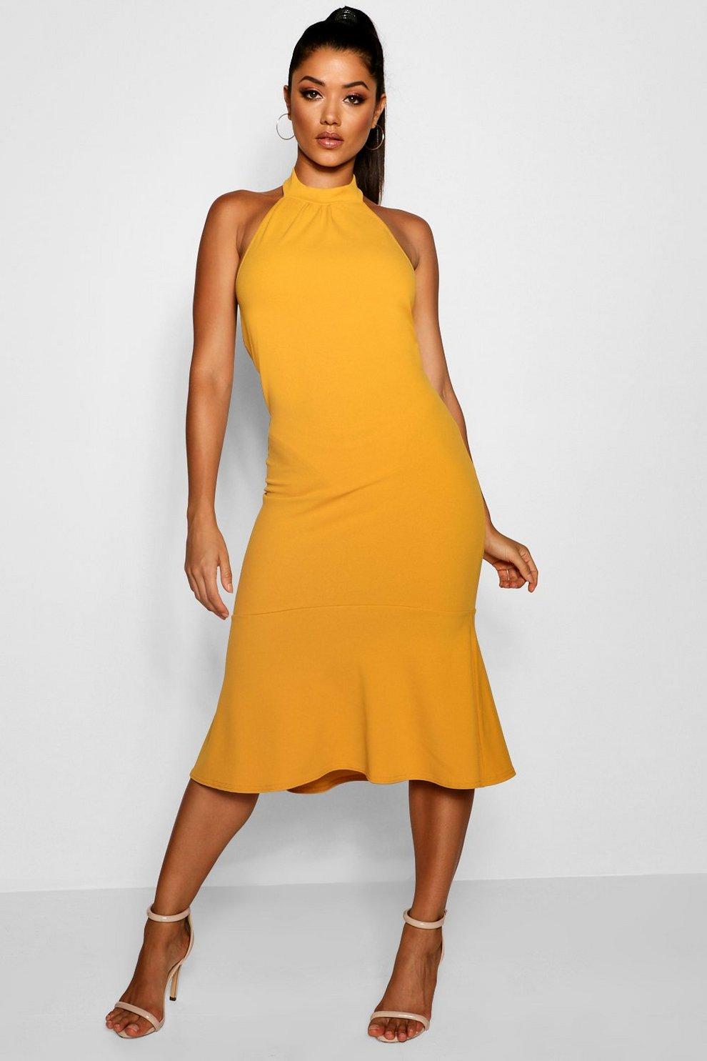 ea0ffb550db6 High Neck Frill Hem Midi Dress | Boohoo