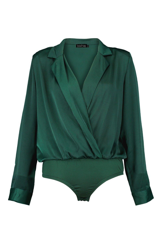 satén blazer verde Body estilo en FZtt5gqxw