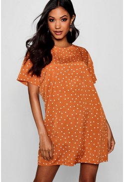 Womens Rust Mini Polka Dot Short Sleeved Shift Dress