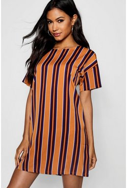 Rust Tonal Stripe Short Sleeved Shift Dress