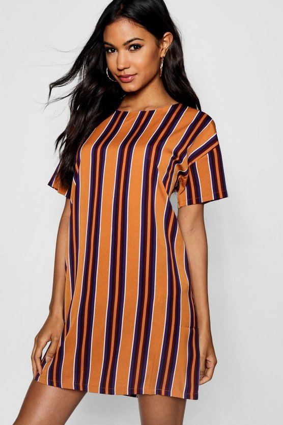 Womens Rust Tonal Stripe Short Sleeved Shift Dress