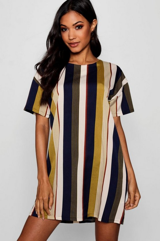 Mustard Tonal Stripe Short Sleeved Shift Dress