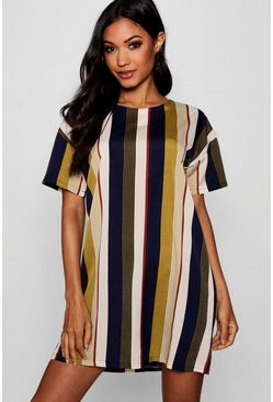 Womens Mustard Tonal Stripe Short Sleeved Shift Dress