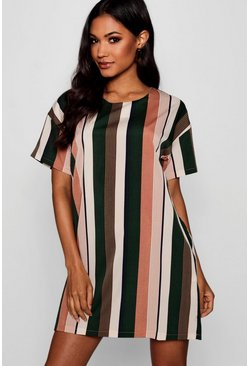 Tonal Stripe Short Sleeved Shift Dress, Rose, Donna