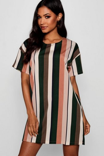 Womens Rose Tonal Stripe Short Sleeved Shift Dress