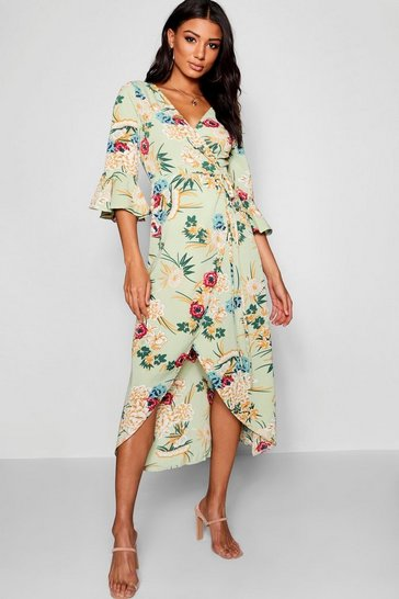 Womens Sage Floral Woven Wrap Maxi Dress