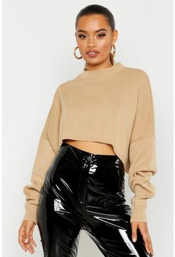 Womens Camel Oversized Sleeve Crop Boxy Jumper