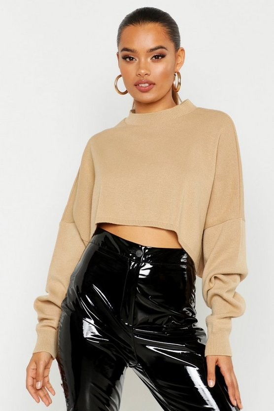 Oversized Sleeve Crop Boxy Jumper