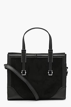 Suedette & Metal Trim Mini Tote Cross Body