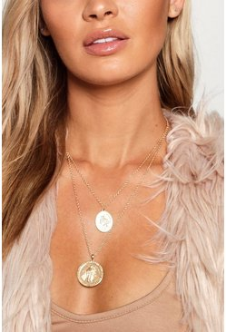 Womens Gold Sovereign Layered Necklace