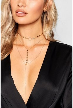 Gold Coin Plunge Layered Necklace