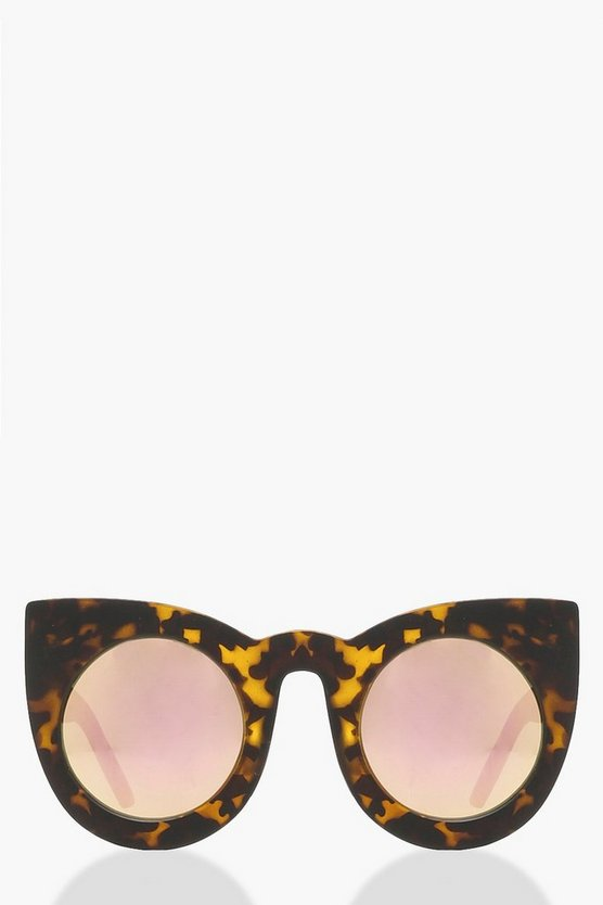Mirrored Lens Tortoiseshell Cat Eye Sunglass