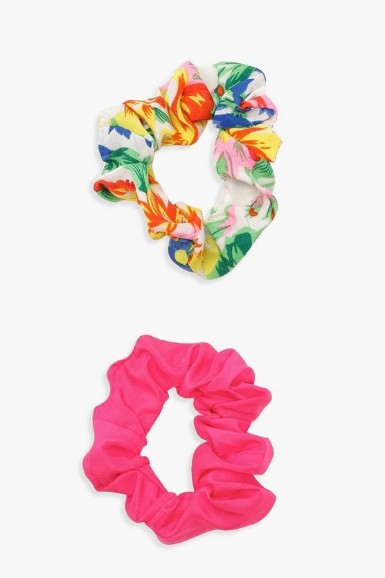 Floral Print 2 Pack Scrunchie