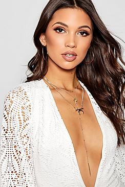 Cross And Horn Diamante Layered Necklace
