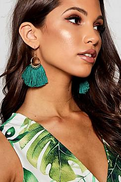 Green Tassel Circle Earrings