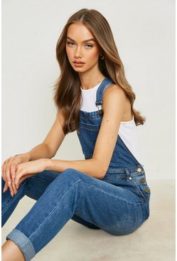 Womens Mid blue Boyfriend Denim Overalls