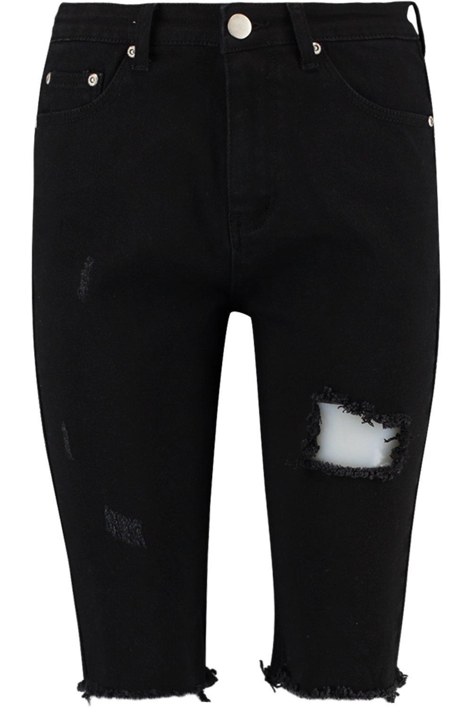 denim estilo cortos elástico en negro Pantalones xPfq5wqt
