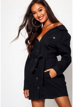Black Off The Shoulder Denim Shirt Dress