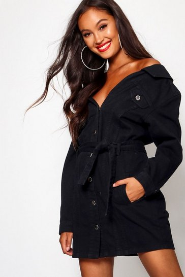 4a734d34 Off The Shoulder Denim Shirt Dress