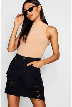 Western Distressed Denim Skirt, Black, Donna