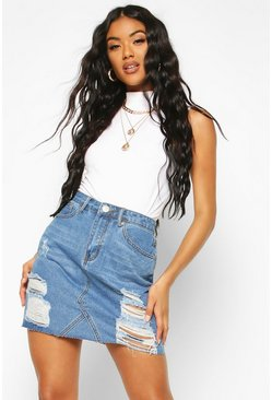 Womens Mid blue Western Distressed Denim Skirt