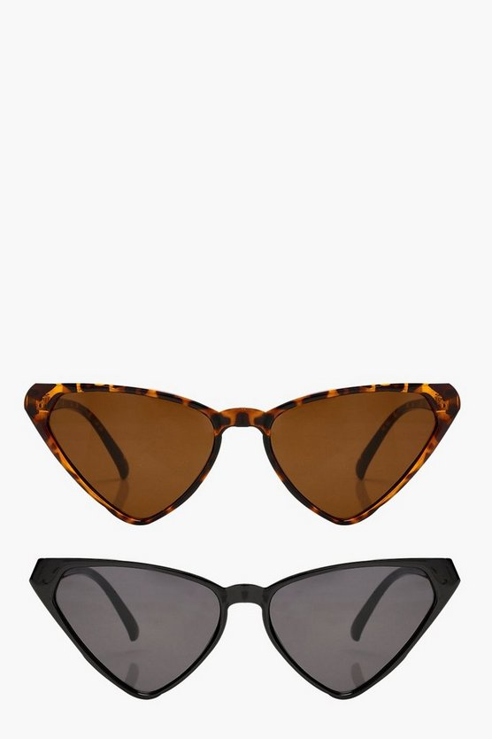 Womens Multi 2 Pack Triangular Cat Eye Sunglasses