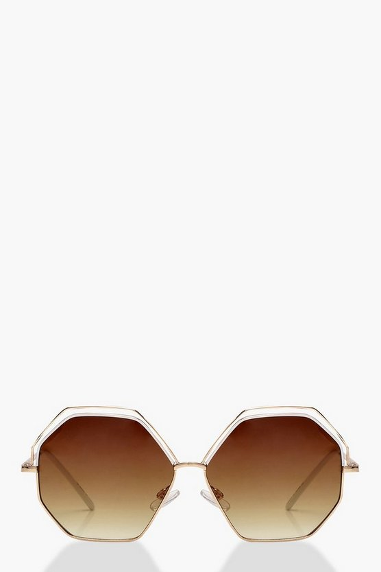 Womens Brown Cut Out Hexagonal Retro Sunglasses