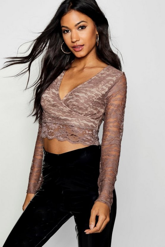 Womens Camel Long Sleeve Lace Wrap Crop