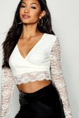 ee2c252d6d4 ... Womens White Long Sleeve Lace Wrap Crop alternative image