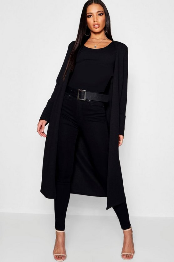 Collarless Longline Cuff Detail Duster
