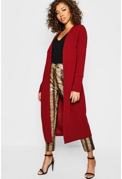 Womens Burgundy Collarless Longline Cuff Detail Duster