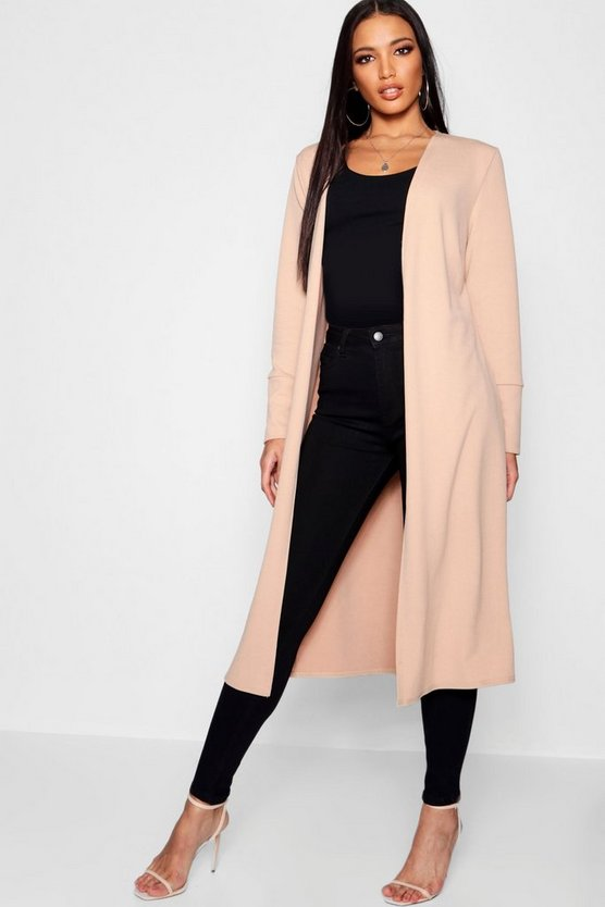 Collarless Longline Cuff Detail Duster Collarless Longline Cuff Detail Duster by Boohoo