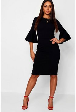 Womens Black 3/4 Angel Sleeve Crew Neck Midi Dress