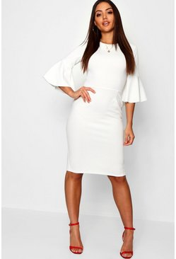 Womens Ivory 3/4 Angel Sleeve Crew Neck Midi Dress