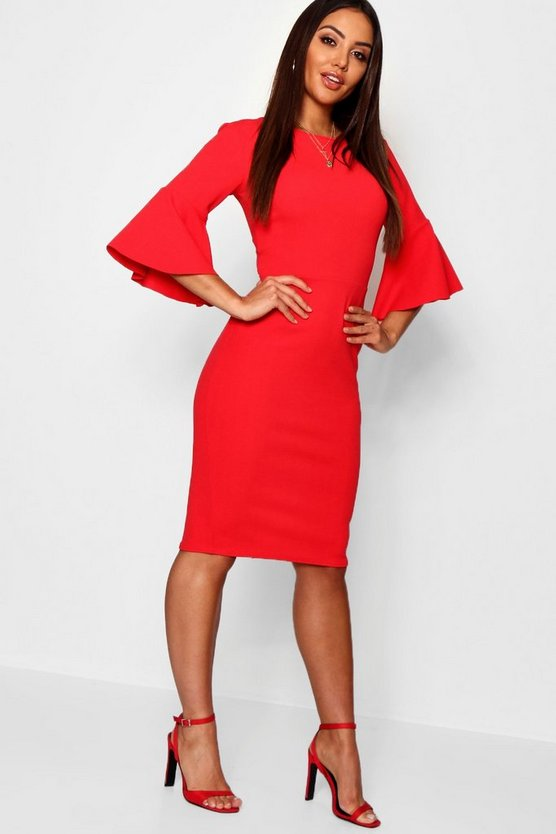 Womens Red 3/4 Angel Sleeve Crew Neck Midi Dress