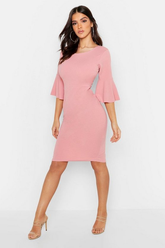 Womens Soft pink 3/4 Angel Sleeve Crew Neck Midi Dress