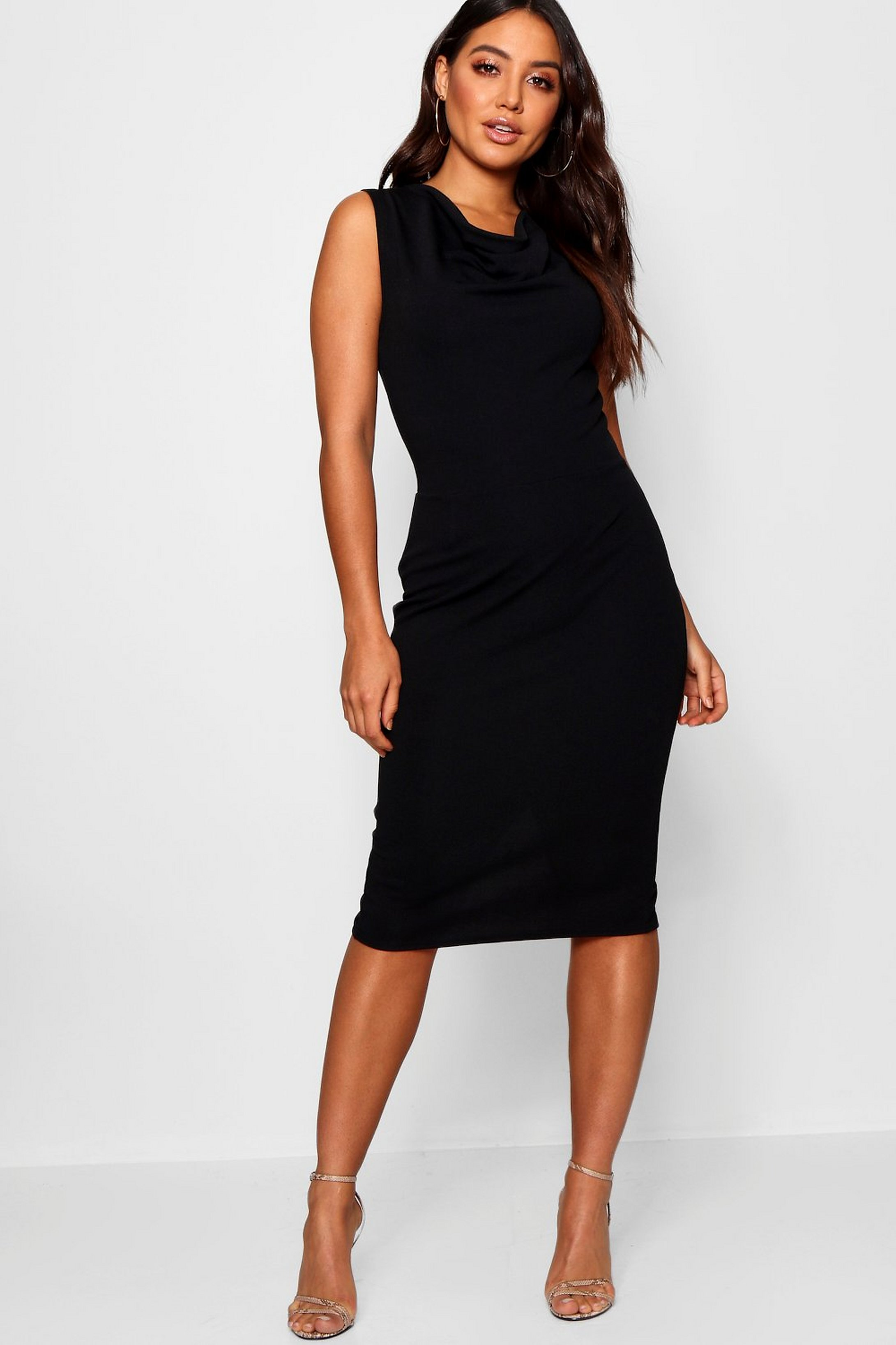 b5311b81bdd7 Womens Black Cowl Neck Midi Dress