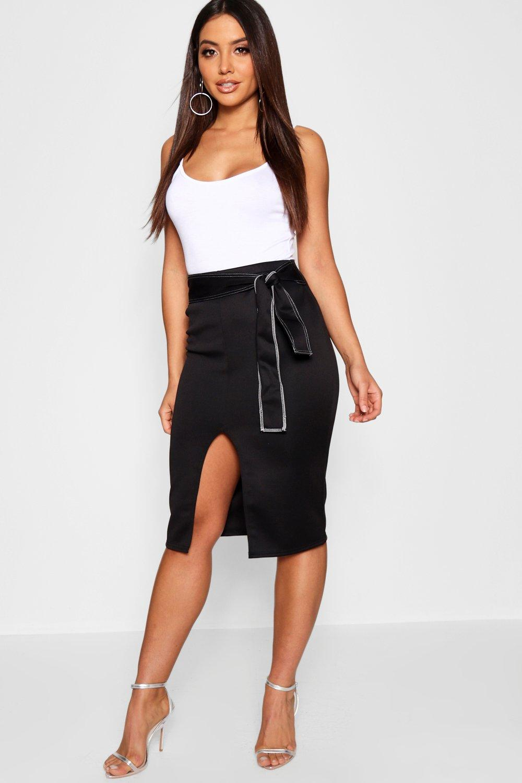 Belted Midi Contrast Contrast Stitch Stitch Midi Contrast Skirt Midi Belted Skirt Stitch Contrast Belted Skirt wAYqxz