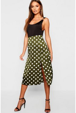 Emerald Satin Polka Dot Split Midi Skirt