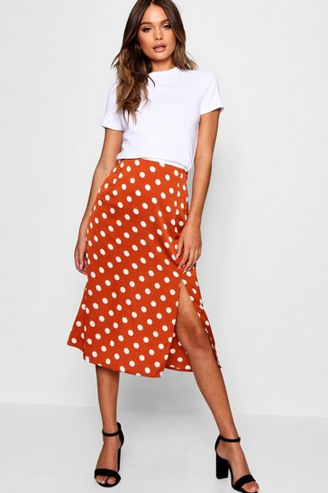 Womens Rust Satin Polka Dot Split Midi Skirt