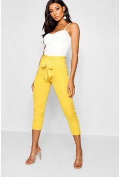 Womens Mustard Cropped Tie Waist Slim Fit Trousers