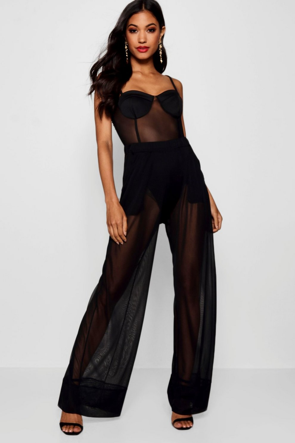 0209372a4279 Womens Black Mesh Cargo Utility Wide Leg Trouser