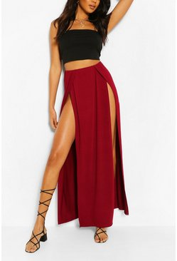 Berry Thigh Split Maxi Skirt