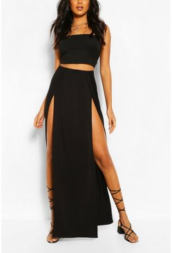 Womens Black Thigh Split Maxi Skirt