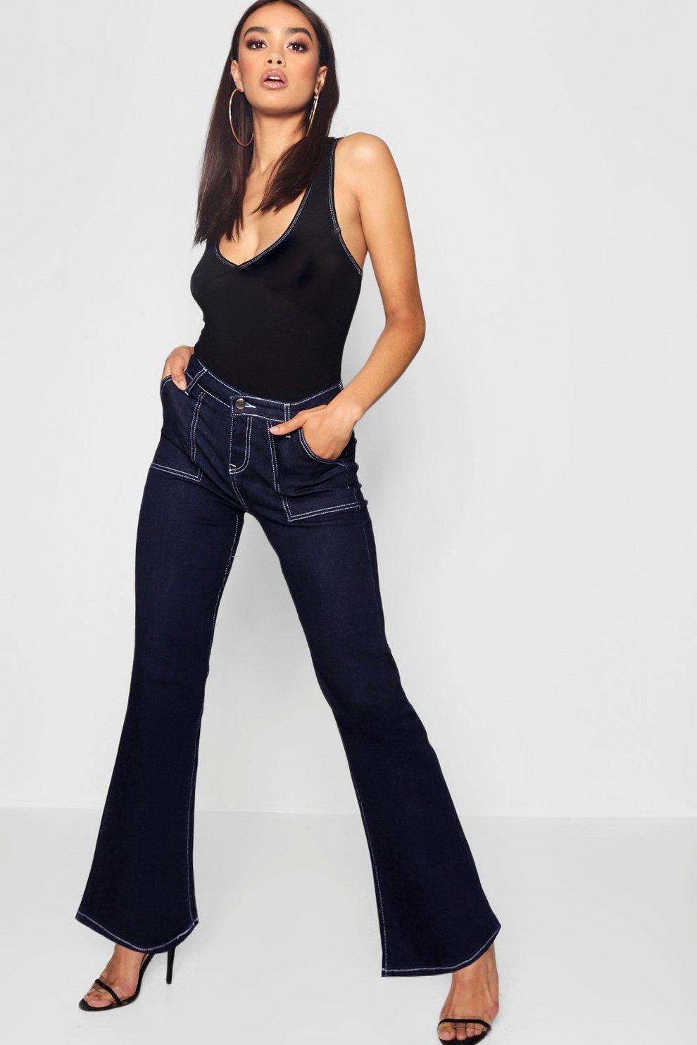 f8c9dd49c1731 High Waist Contrast Stitch Straight Leg Jeans   Boohoo