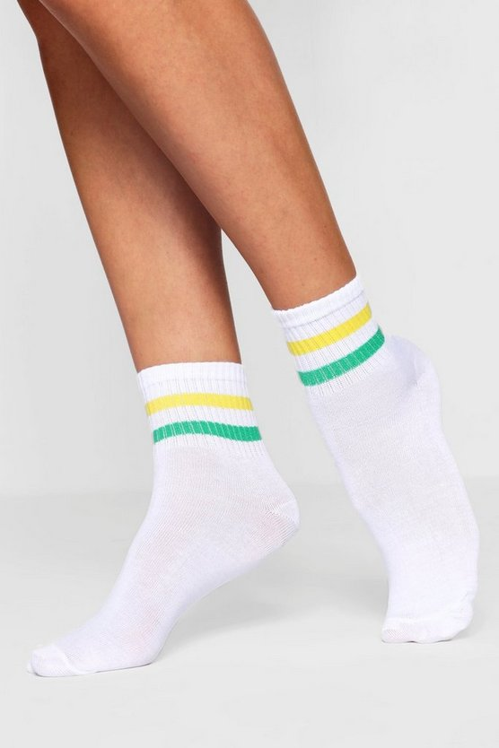 Green And Yellow Sport Stripe Ankle Sock