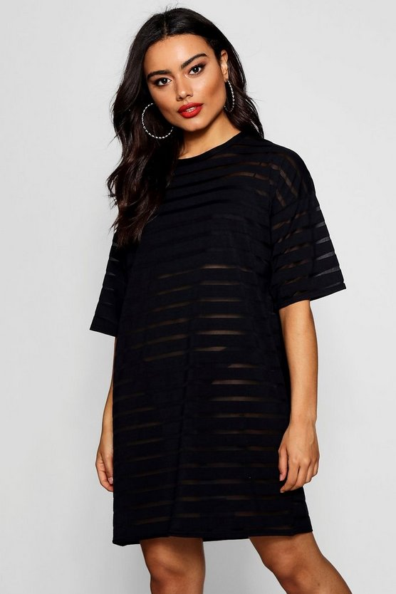 Burn Out Stripe Oversized T Shirt Dress