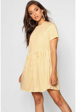 Womens Mustard Gathered Waist Smock Dress