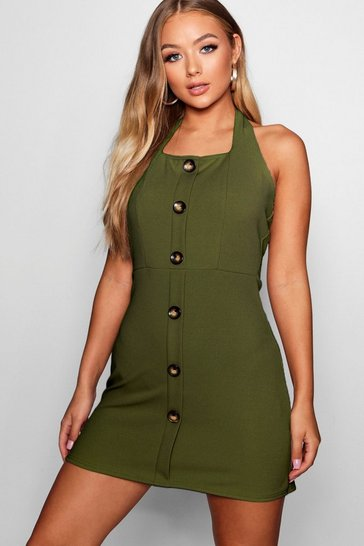 Womens Khaki Horn Button Square Neck Shift Dress
